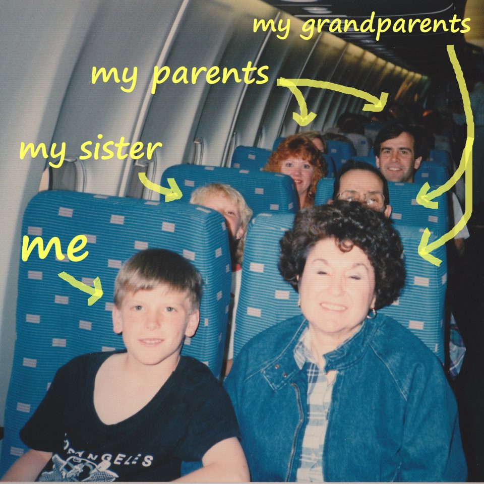 Aaron Schlein & family on a plane
